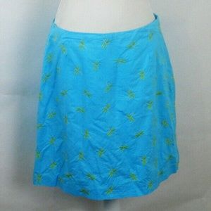 Embroidered Dragonfly Women's Blue Lined Skirt